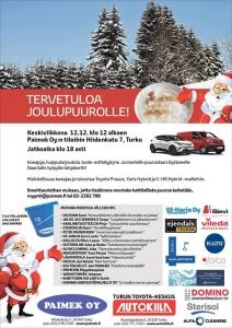 Tervetuloa tänään keskiviikkona klo 12-18 joulupuurolle Paimek Oy:n tiloihin Hiidenkatu 7, Turku. Paikalla automyynnistämme Juha ja Vesa, ja koeajettavana Toyota Proace, Yaris Hybrid ja C-HR Hybrid. Tuote-esittelyjä ja tarjouksia!