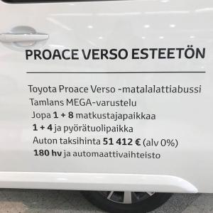 Tänään maanantaina 3.6. meillä nähtävänä klo 16 asti Toyota Proace Verso Family Tamlans MEGA, esteetön matalalattiataksi. Paikalla myös Tamlansin edustaja Teemu Lahti. Tervetuloa!